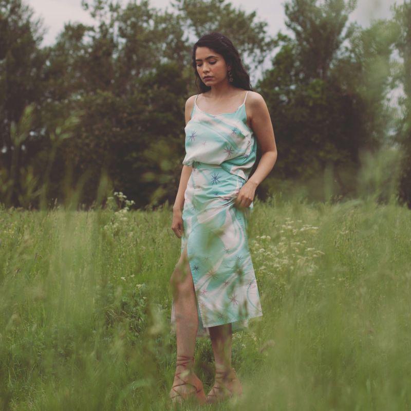 Blue Star Swirl Midi Skirt With Slit image