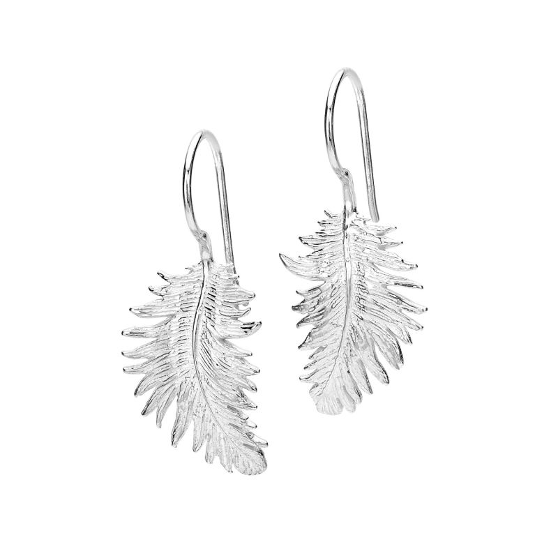 Silver Feather Drop Earrings image