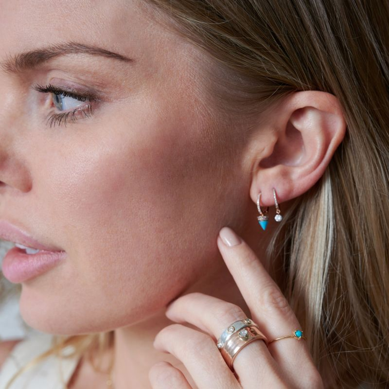 Pave Diamond 14K Rose Gold Huggies With Sleeping Beauty Turquoise Spikes image