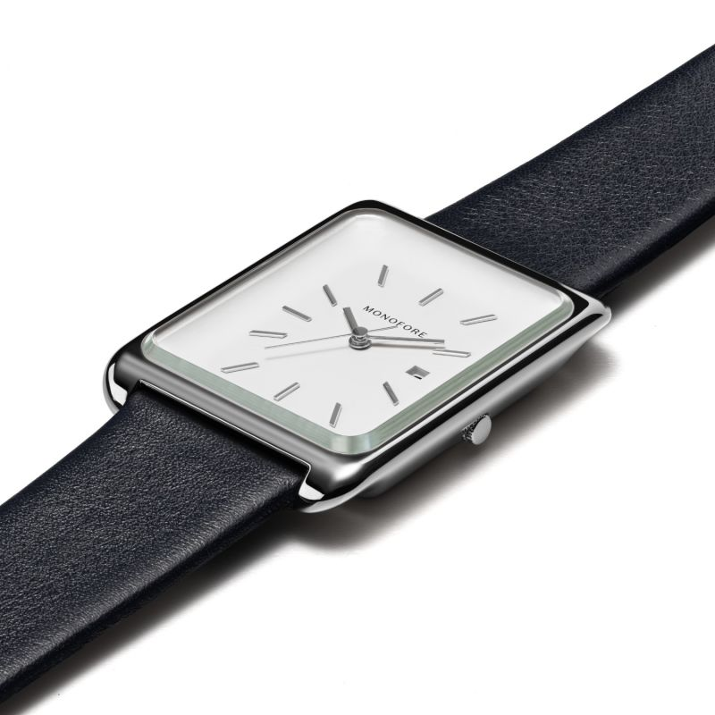 Monofore M01 Silver 41mm - Black Leather image