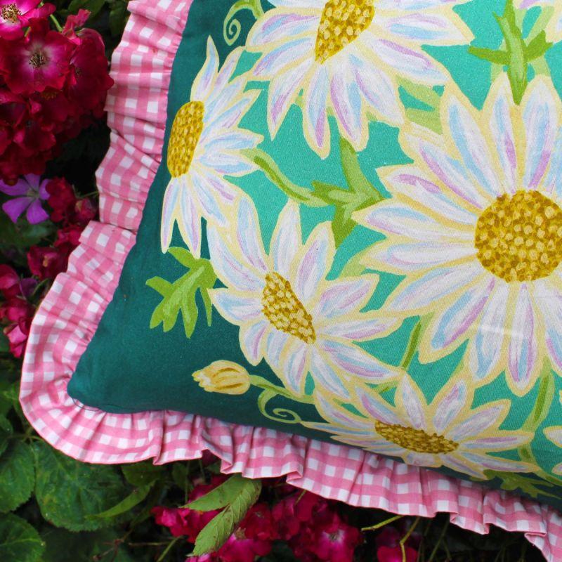 Green Daisy Bouquet Cushion image