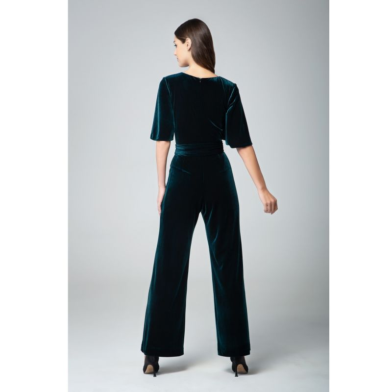 Layla Velvet Jumpsuit With Bell Sleeves & Sash In Emerald Green image