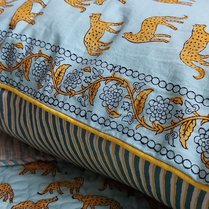 Sky Kotiya Large Cotton Cushion with Yellow Piping image
