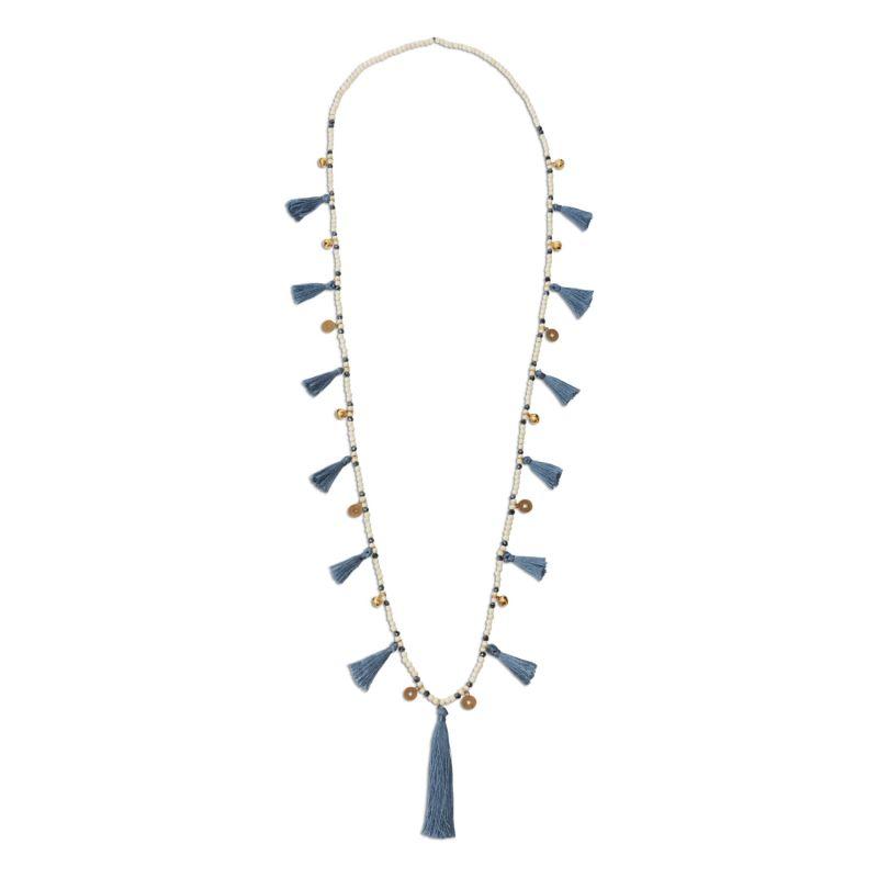 Blue Grey Tassel Necklace image