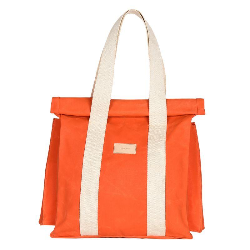 The Basto Tote Bag - Orange Waxed Canvas image