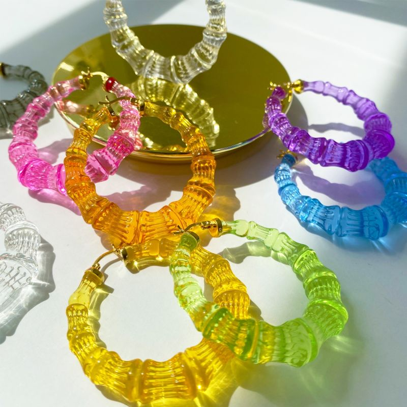 Bamboo Hoops In Lime image
