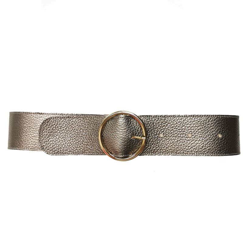 Leather Platino Belt with Golden Buckle image
