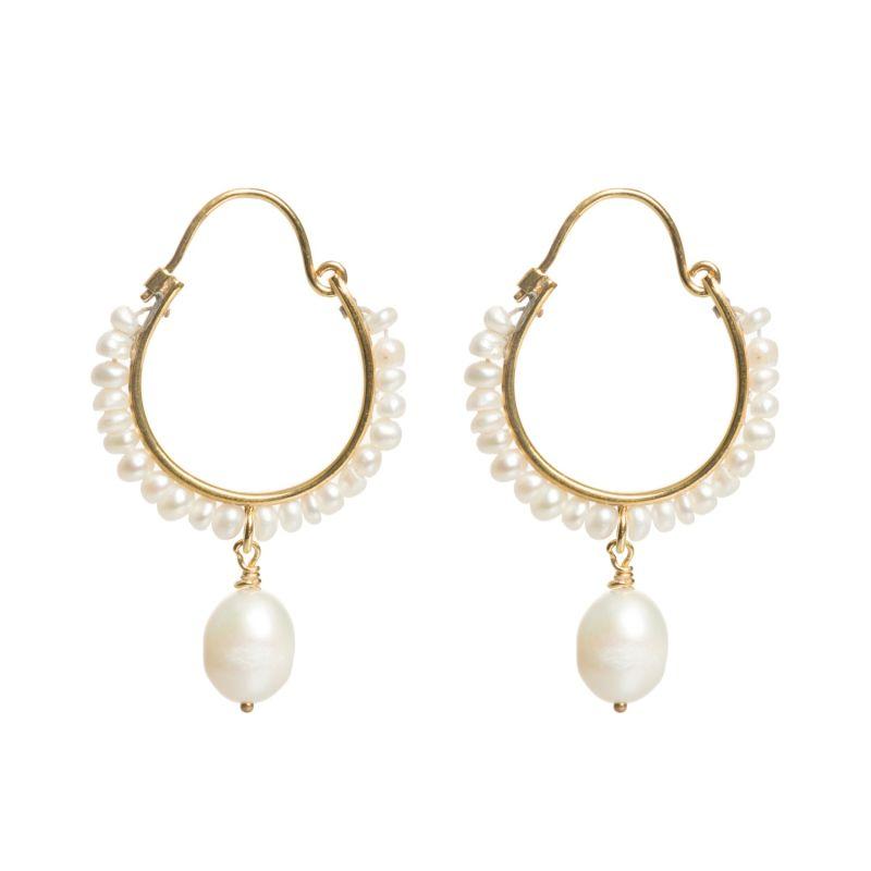 Small Pearl Drop Hoop Earrings image