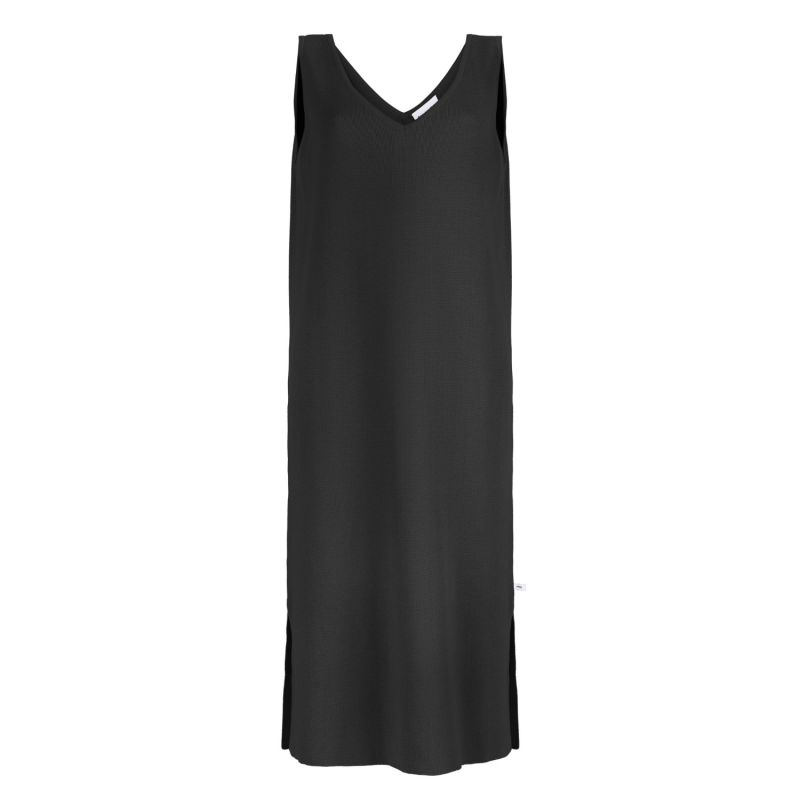 Knitted V-Neck Dress White Black image