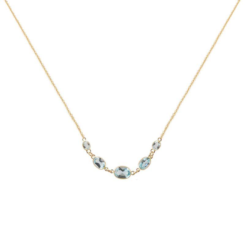 Five Stone Bezel Set Blue Topaz Necklace In 14K Yellow Gold image