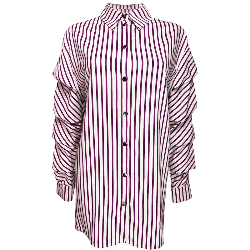 Striped Pula Shirt With Crinckled Sleeves image