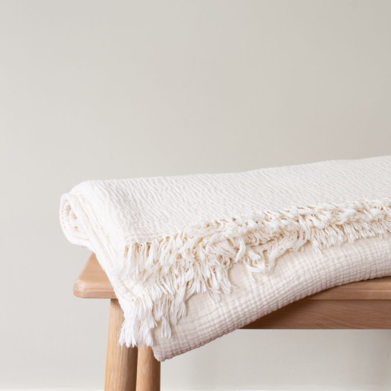 Chalk Crinkle Cotton Throw image