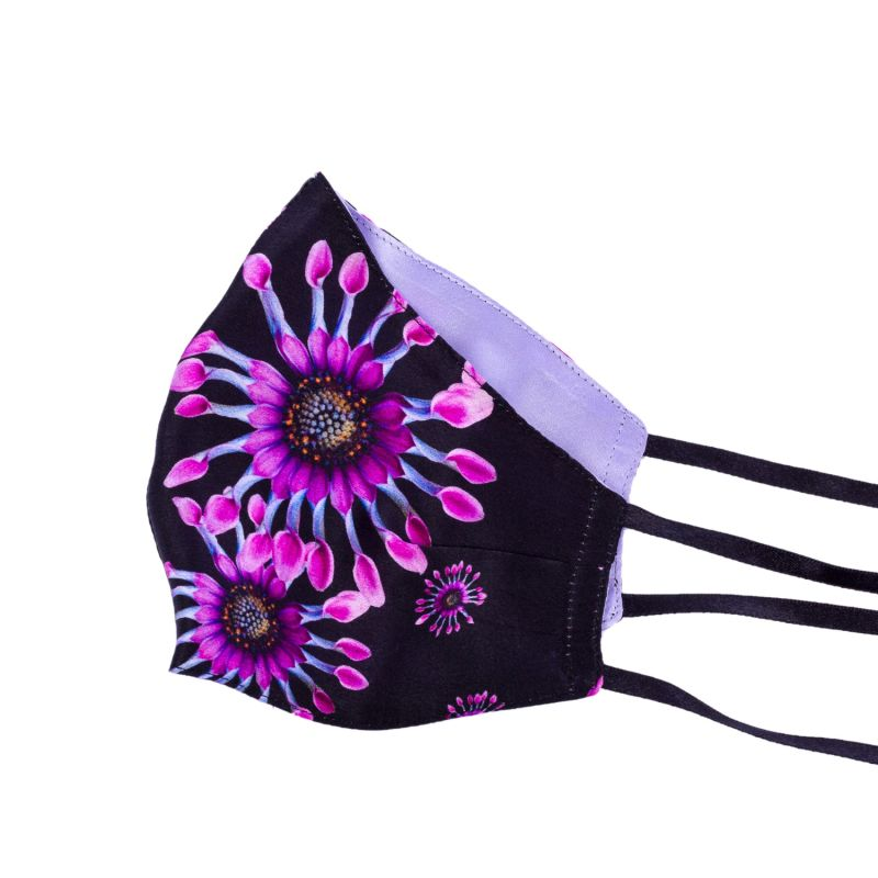 Pack Of 2 Two-Sided Daisy & Purple Silk Face Mask image