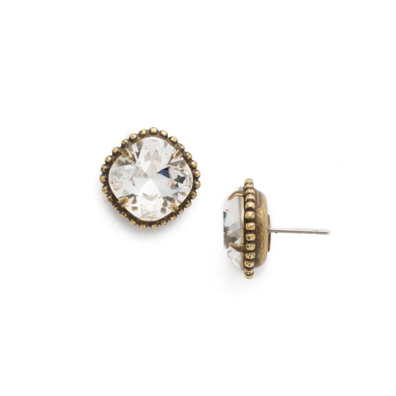 Cushion-Cut Solitaire Stud Earrings - Antique Gold Crystal image