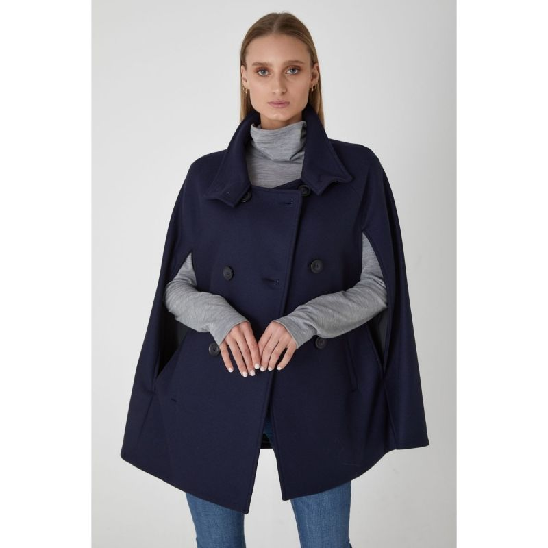 Wool Cashmere Double Breasted Cape - Ink image
