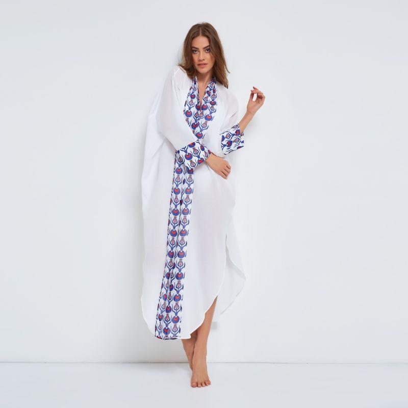 Cotton Kaftan With Tulip Design In White image