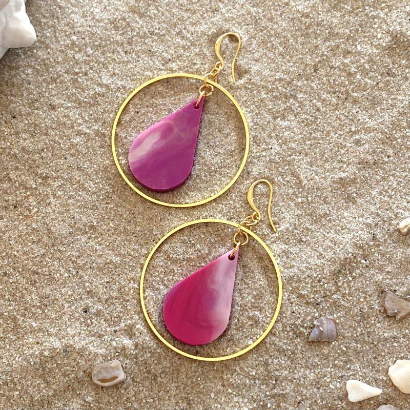 Drop Earrings in Tropical Pink & Gold image