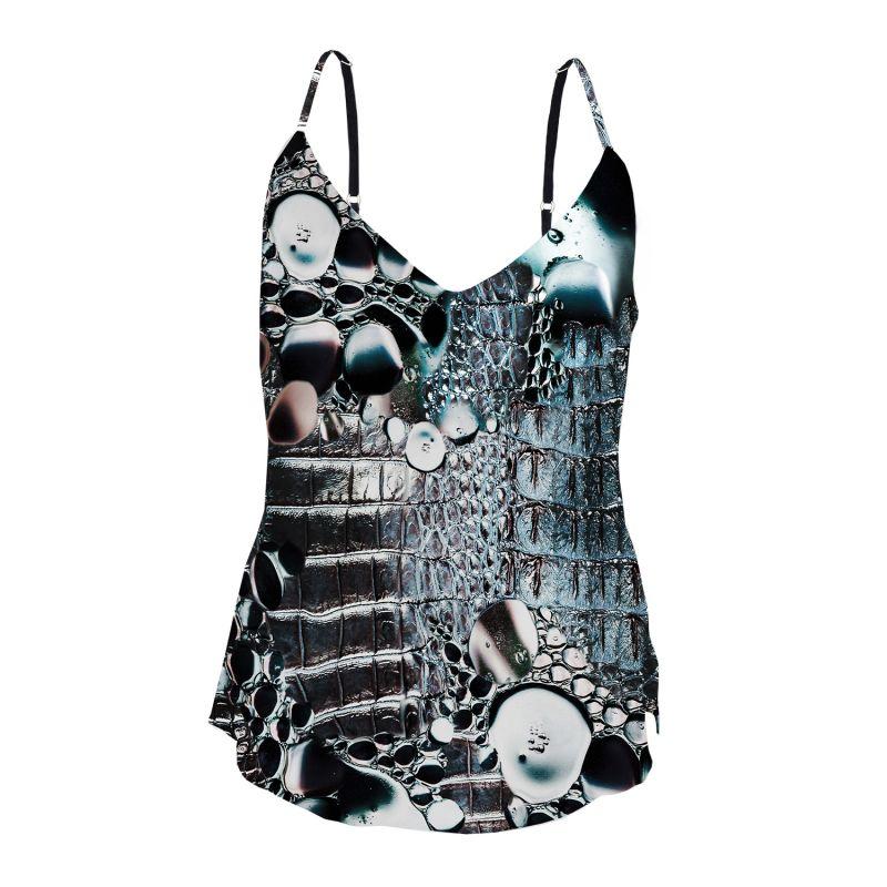 Silk Camisole - Crocodile & Bubbles Print image