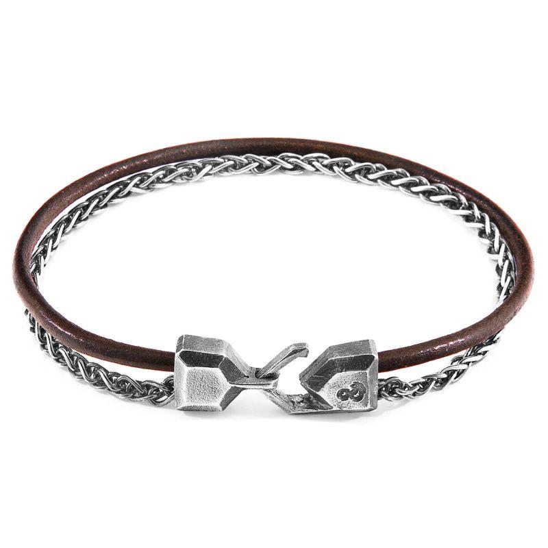Mocha Brown Staysail Mast Silver & Round Leather Bracelet image