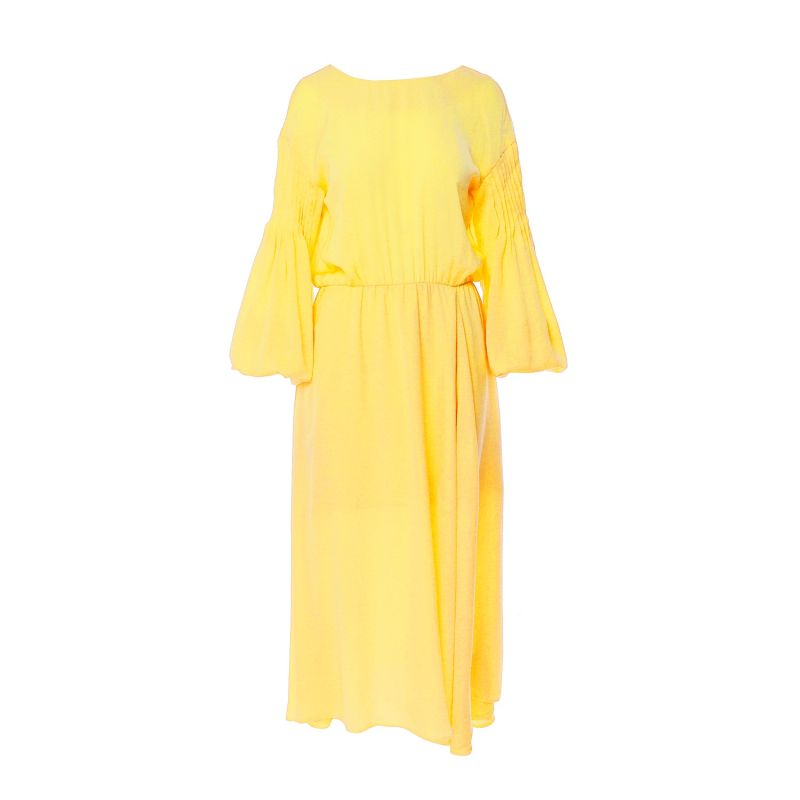 Yellow Two-Sided Dress With Smocked Sleeves image