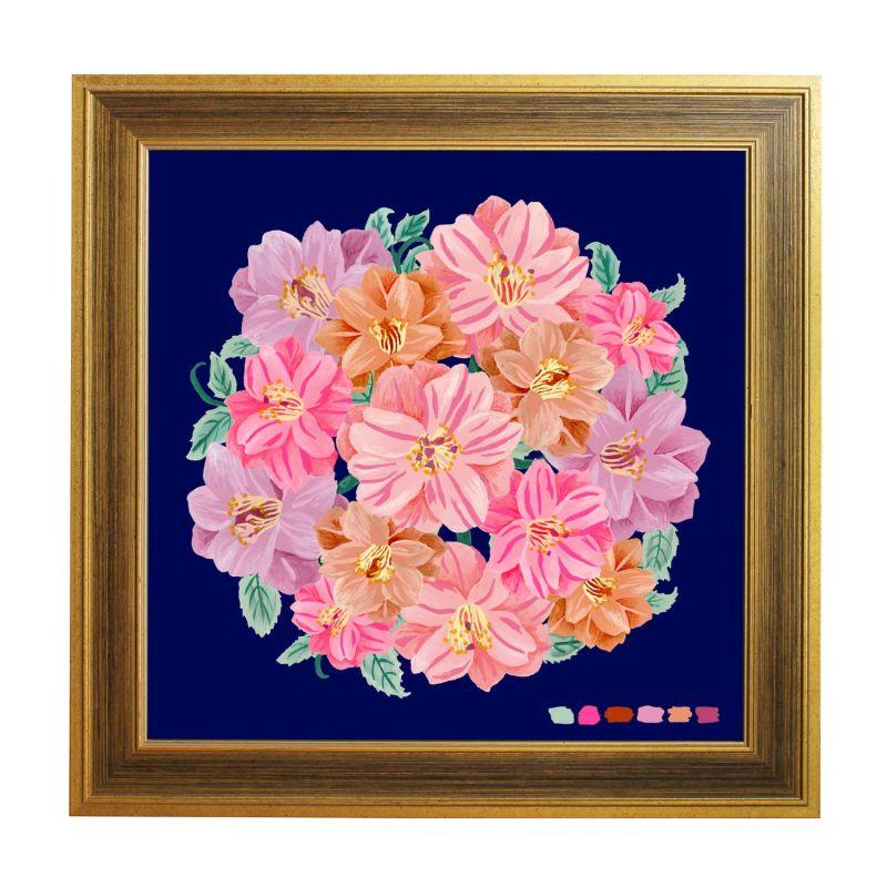 Navy Camellia Bouquet Giclée Print 40X40Cm image