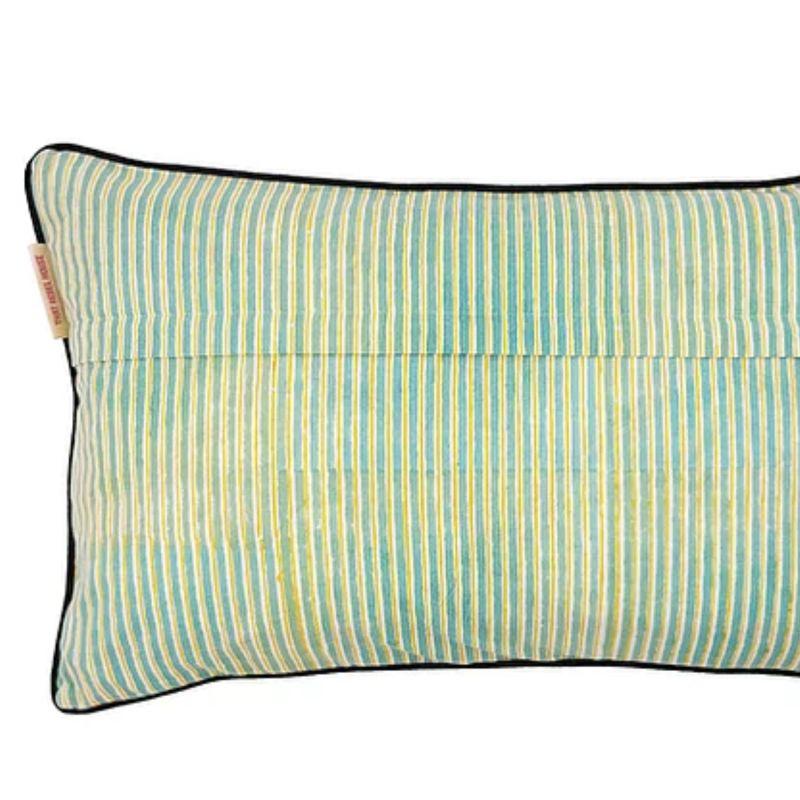 Sky Kotiya Medium Cotton Cushion with Black Piping image