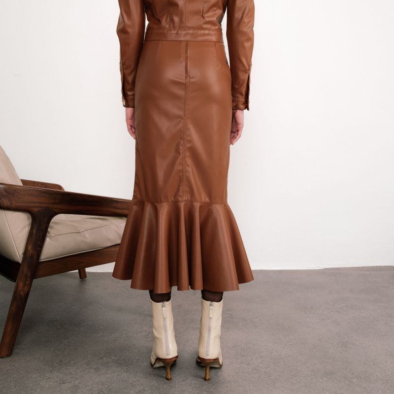 Dolores Ruffled Faux Leather Midi Skirt image