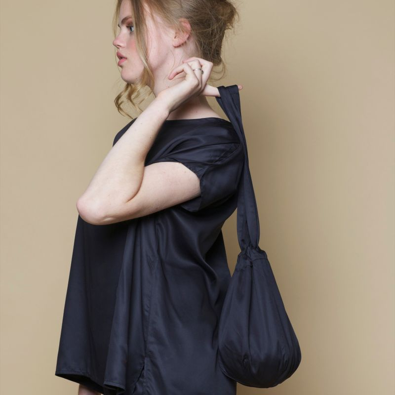 Bamboo Silk Beanie Bag In Black image