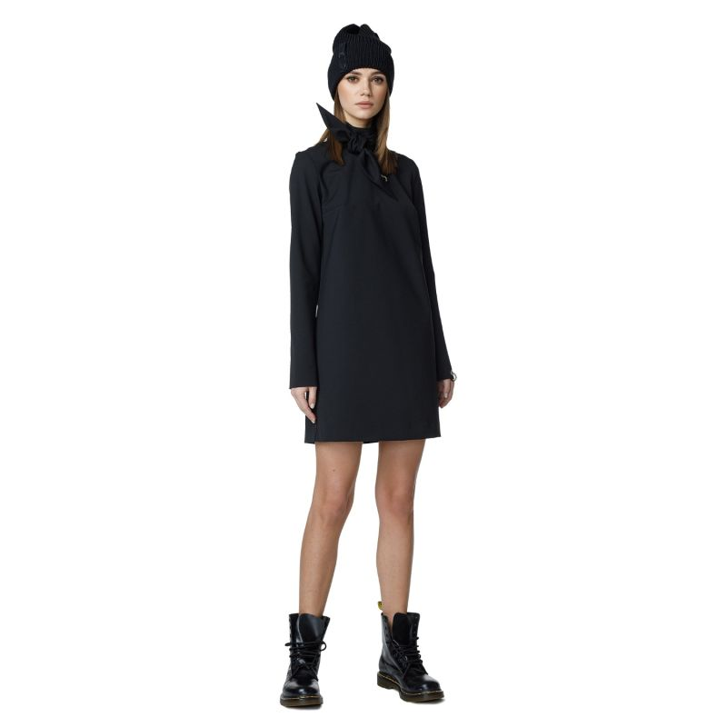 Black Cocktail Dress With Tied Up Collar image