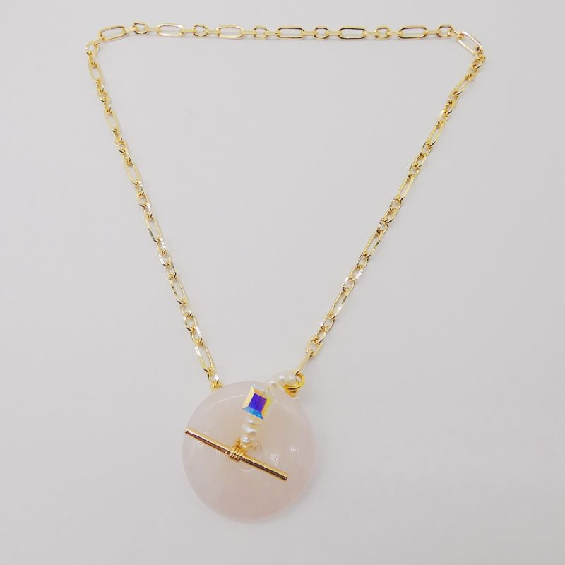 Large Rose Quartz Toggle Pearl Necklace image