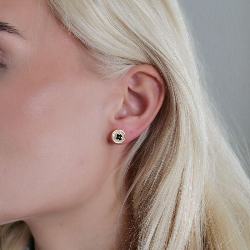 Swish Mother Of Pearl Earrings With Black Zirconia image