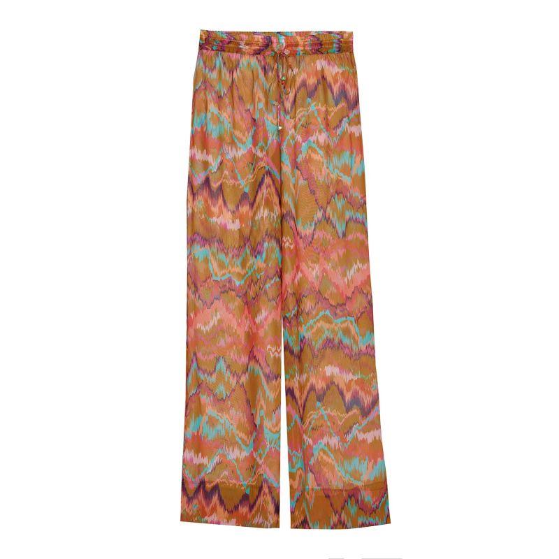 Chiffon Trousers in Dark Multicolor image