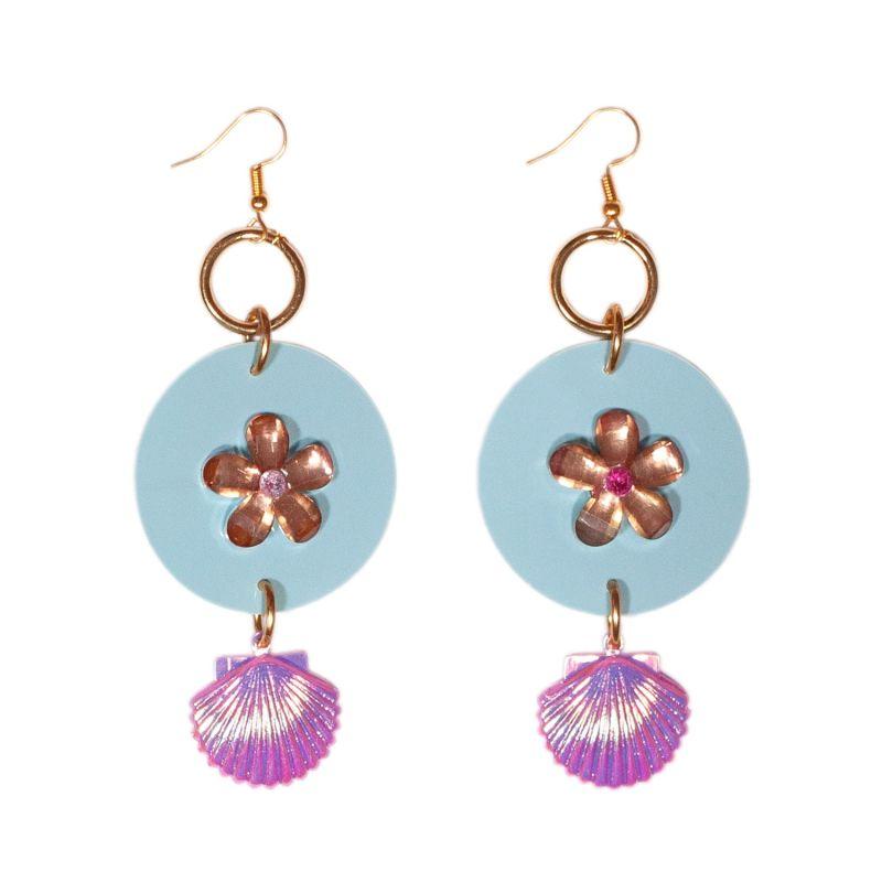 Pastel Iridescent Flower Drop Earrings image