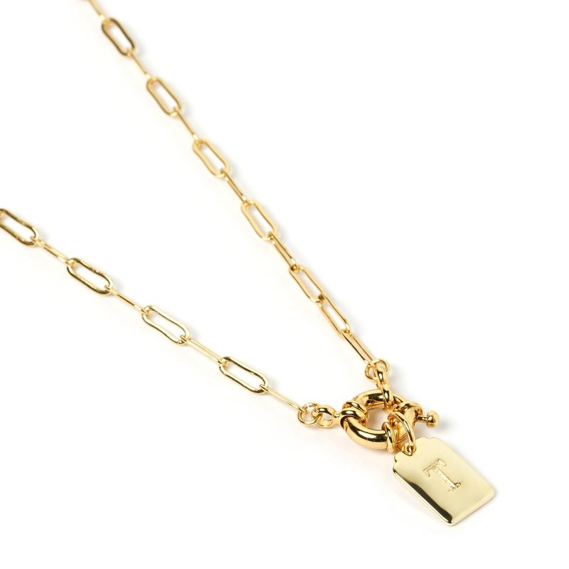 Letter Gold Tag Necklace T image