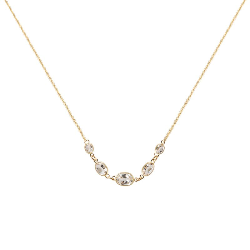 Five Stone Bezel Set White Topaz Necklace In Yellow Gold image