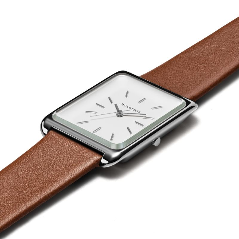 Monofore M01 Silver 38mm - Tan Leather image