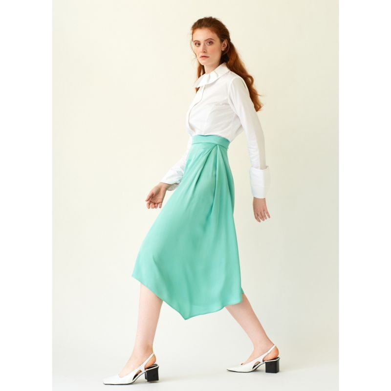 Swept Away Mint Cropped Pants With Side Pleat image