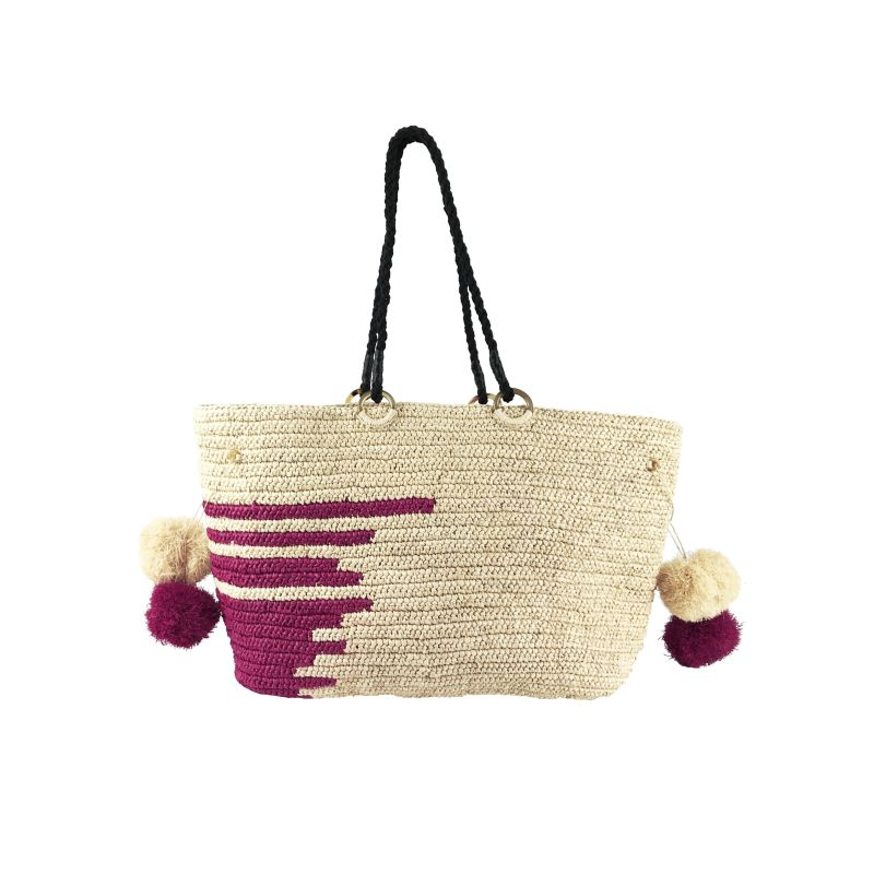 Emmanuel Large Raffia Beach Tote Bag in Natural image