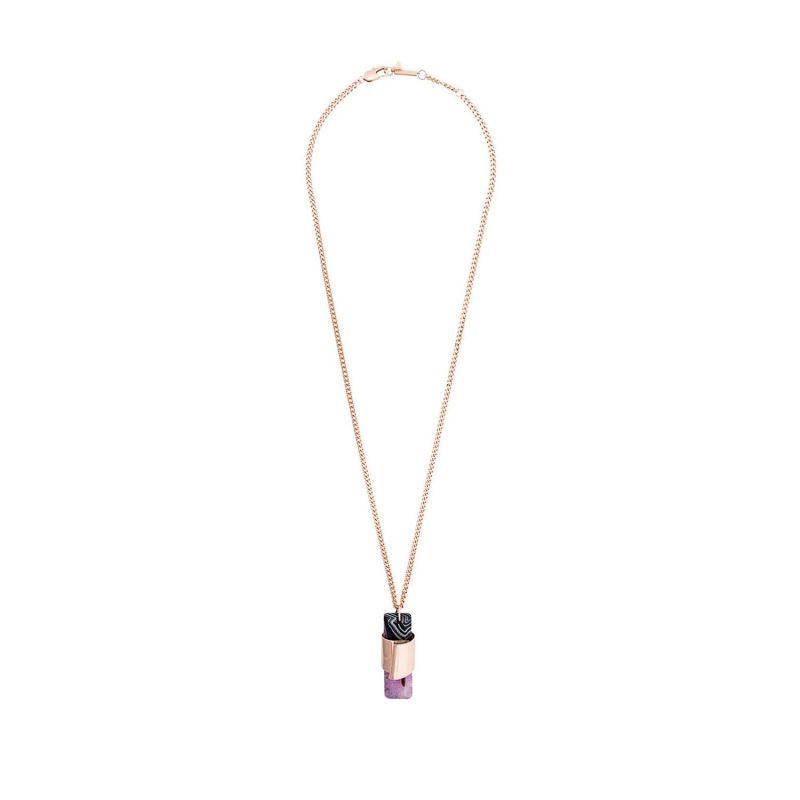 Rose Gold Pink Agate Stone Pendant image
