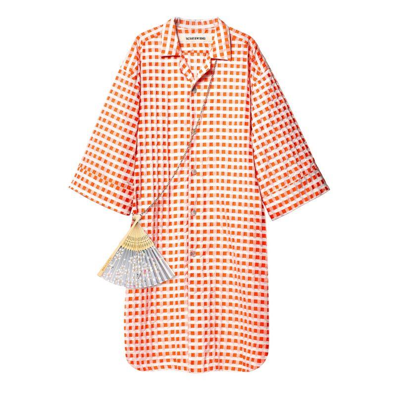 Yukata Shirt Orange & White image