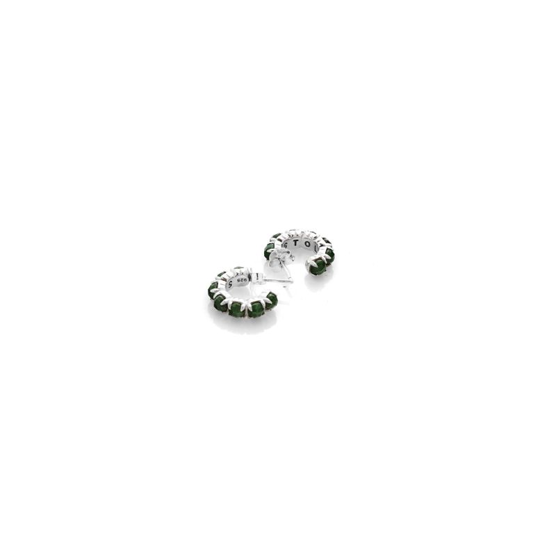 Halo Cluster Earring Green Zoisite image