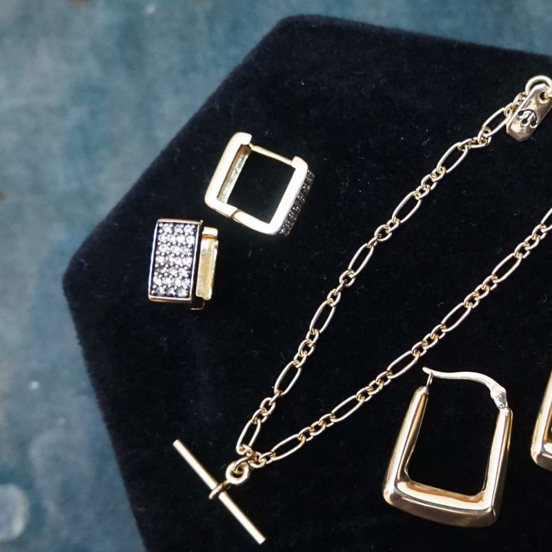 Pawnshop Signature Pave Square Hoop Earrings image