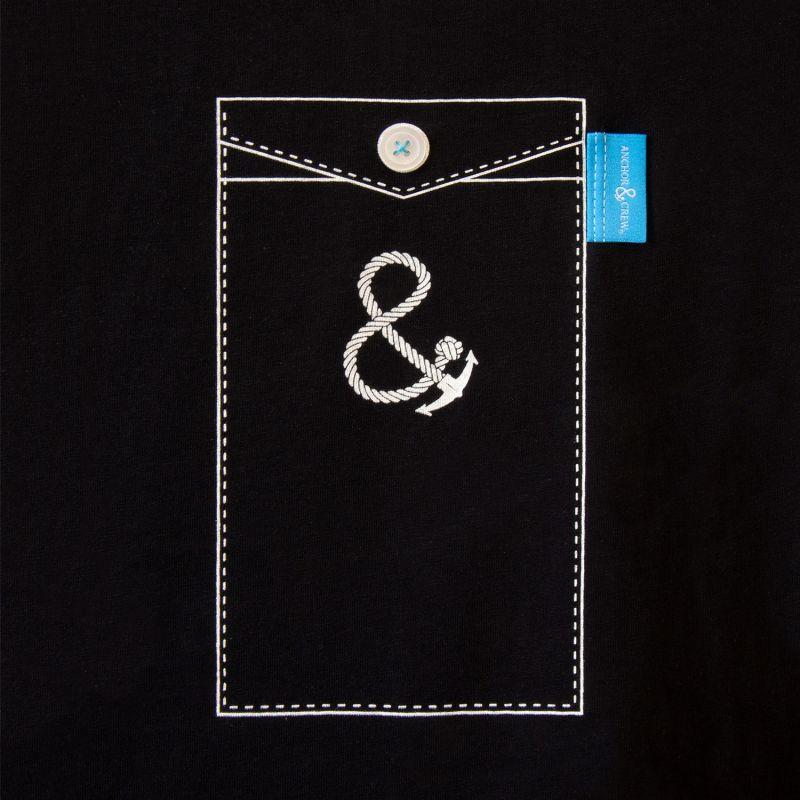 Noir Black Anchormark Print Organic Cotton T-Shirt Mens image