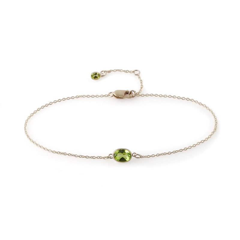 Single Stone Bezel Set Peridot Bracelet In 14K White Gold image