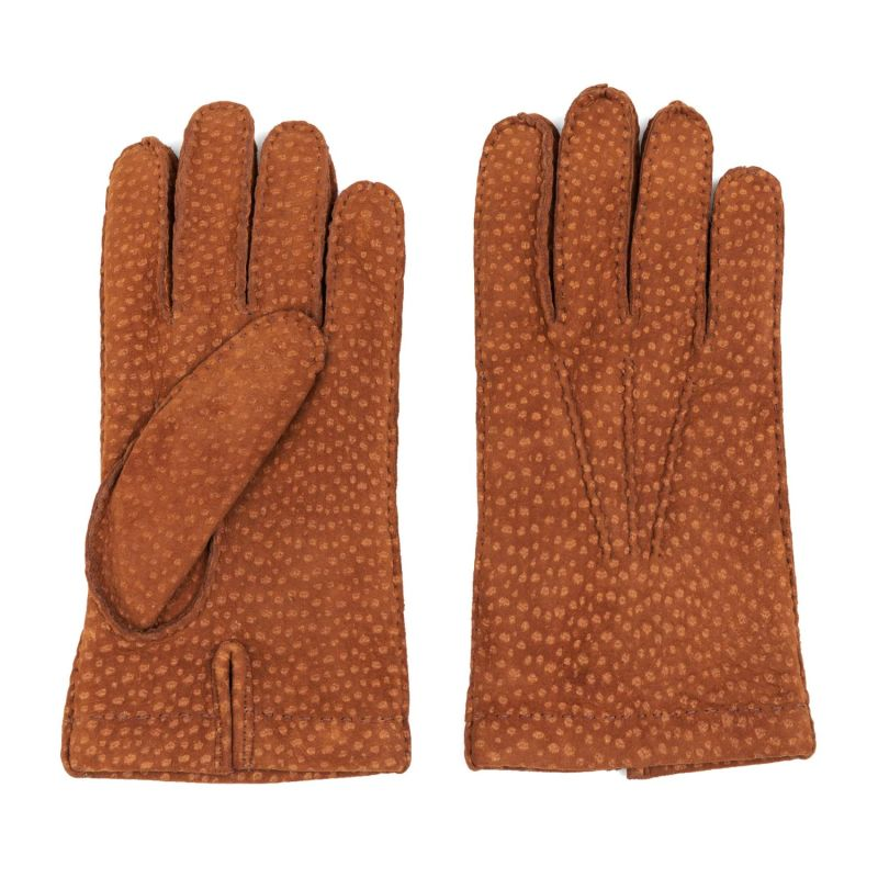 Cashmere Lined Carpincho Leather Gloves Tobacco Davide image