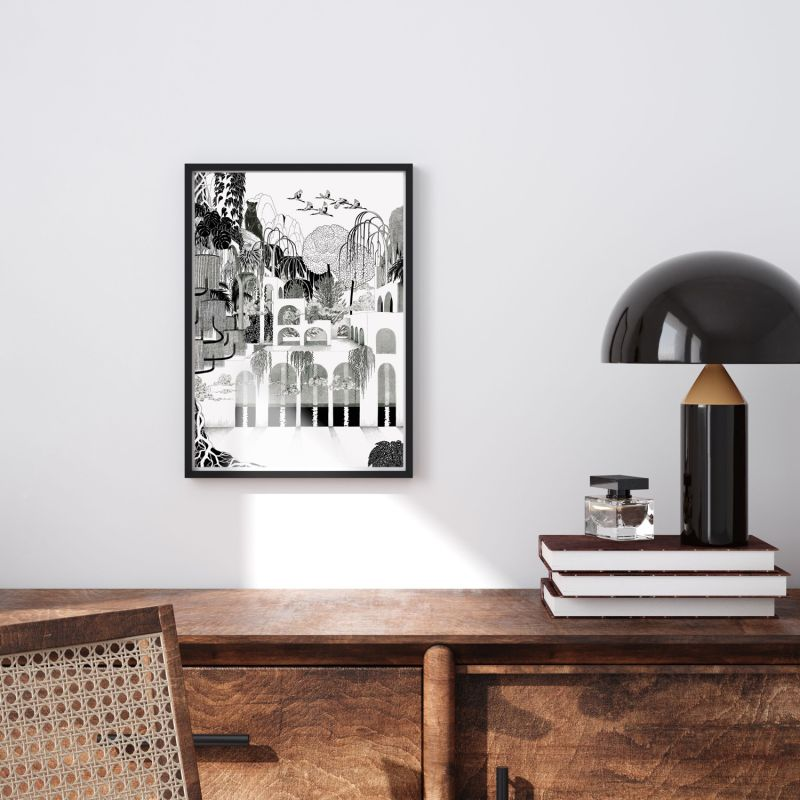 Where The Cats Dream Monochromatic - Signed Art Print A3 image