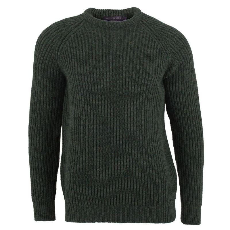 Mens 100% British Wool Heavyweight Ribbed Jumper Loden image