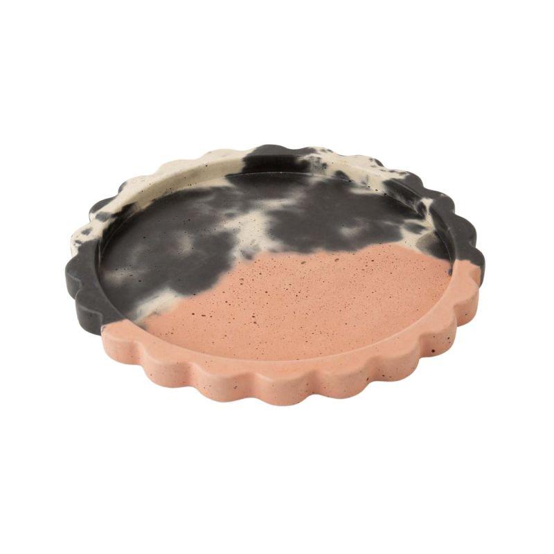 Concrete Scallop Tray - Blush, Charcoal & White image