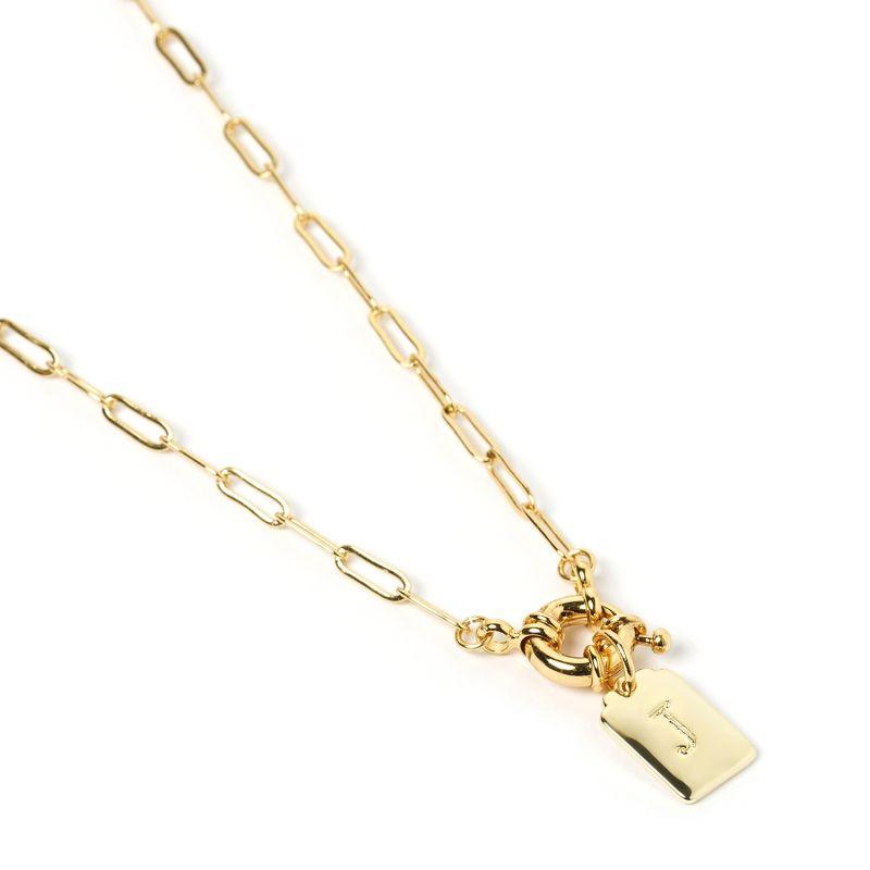 Letter Gold Tag Necklace J image