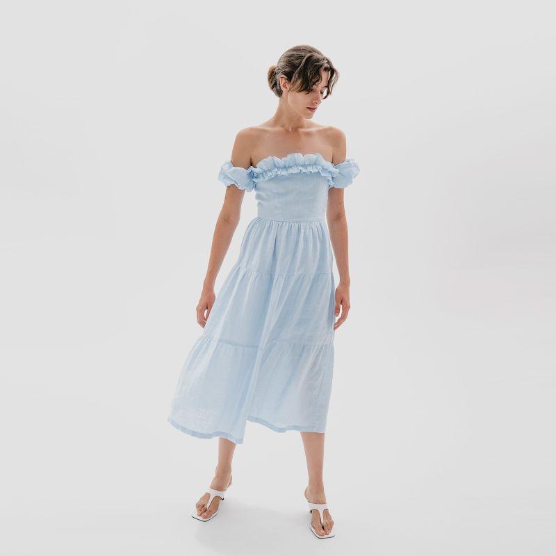 Linen Blend Midi Dress In Blue Sky Colour image